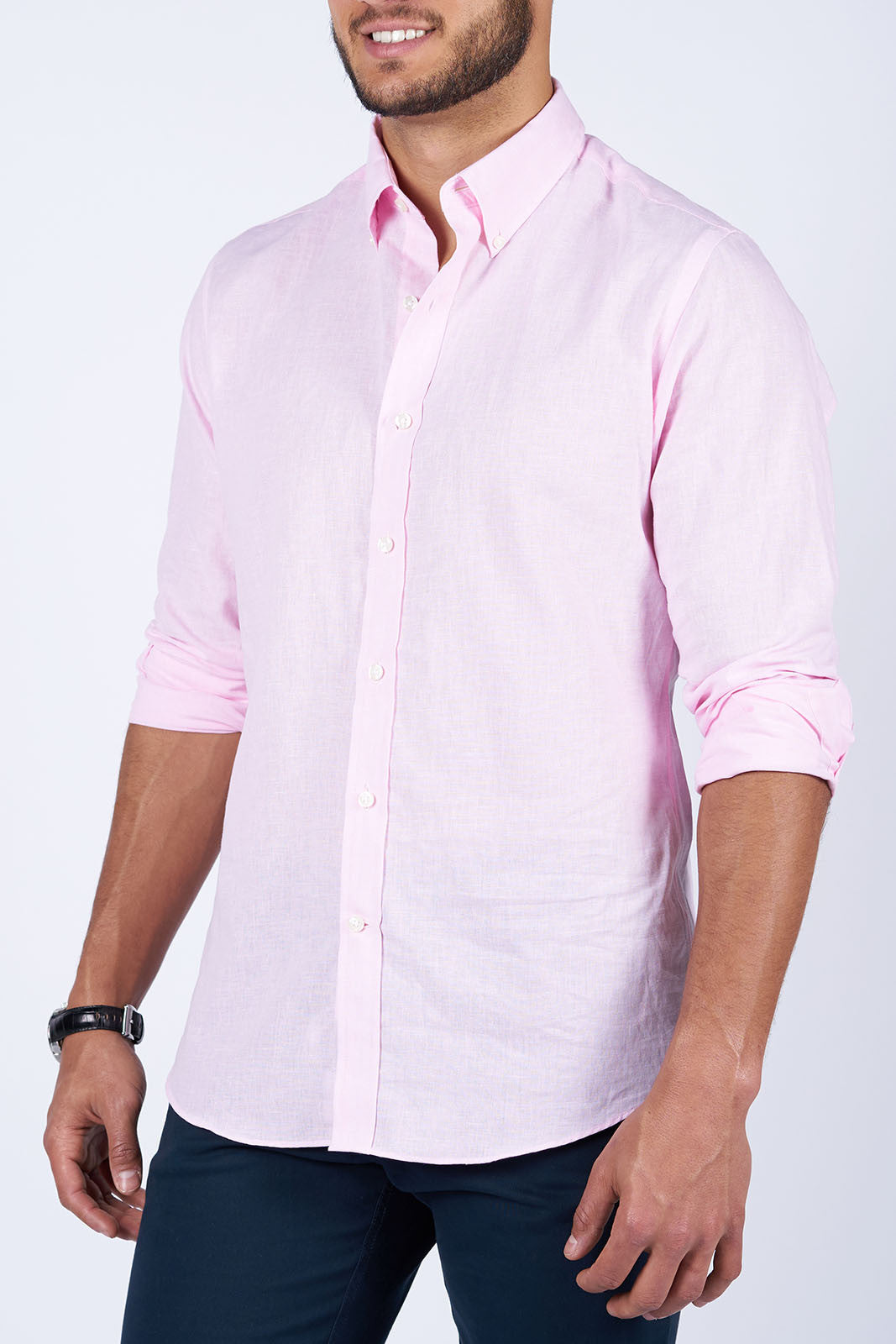 Pink Linen: Semi-Spread Collar, Barrel Cuff