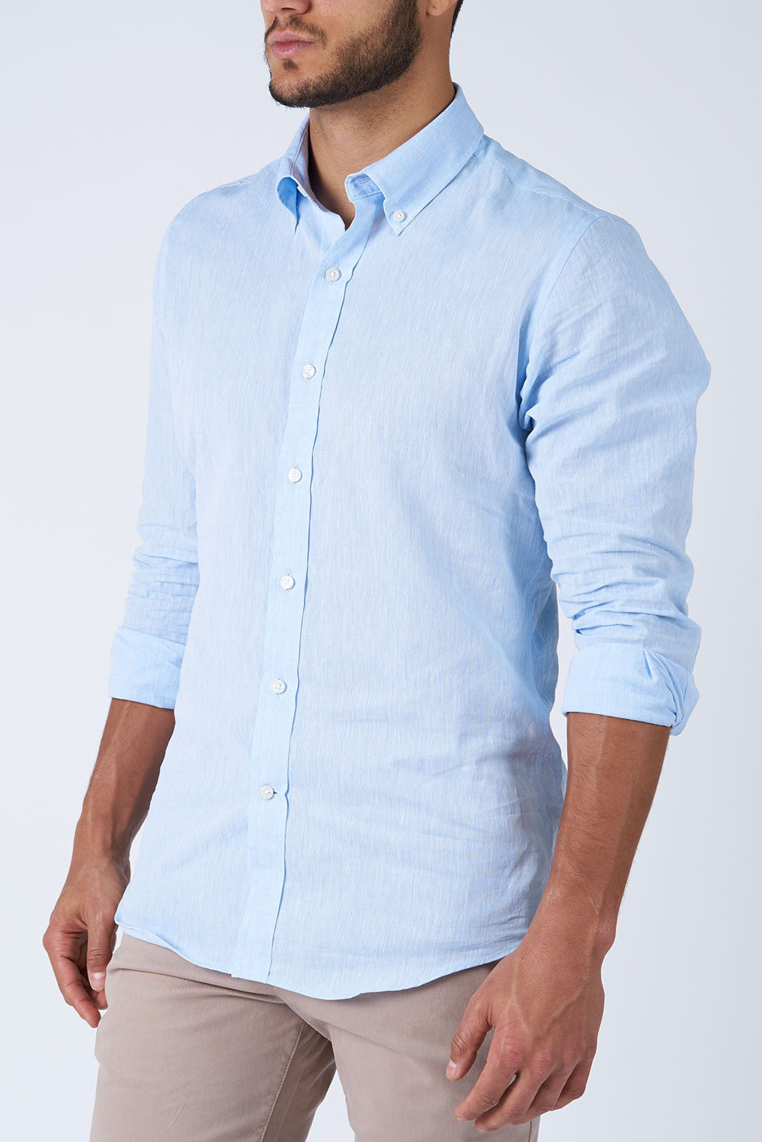 Blue Linen: Button-Down Collar, Barrel Cuff