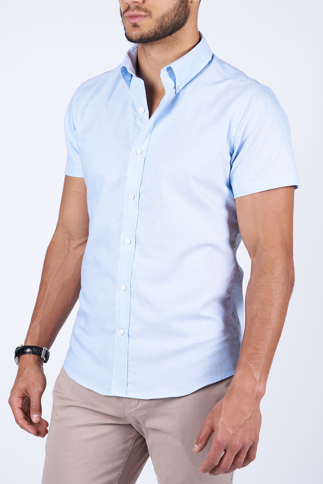 Light Blue Oxford: Semi-Spread Collar, Short Sleeve