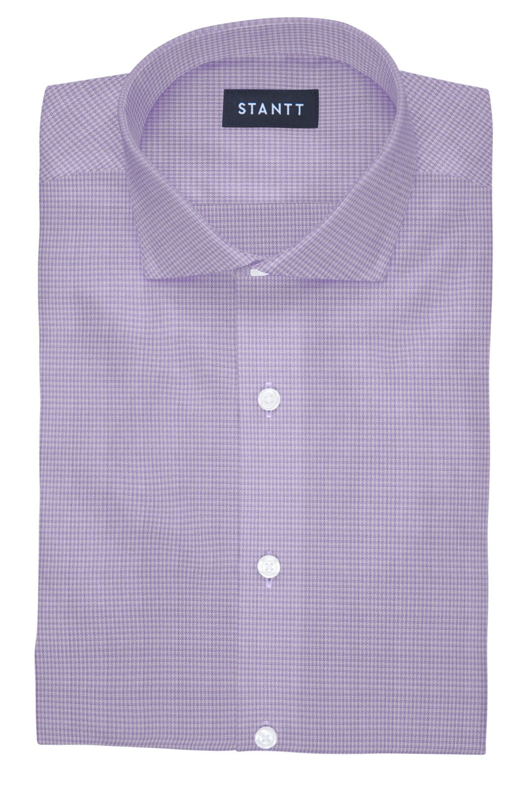 Heather Purple Houndstooth: Cutaway Collar, French Cuff