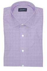 Heather Purple Houndstooth: Modified-Spread Collar, French Cuff
