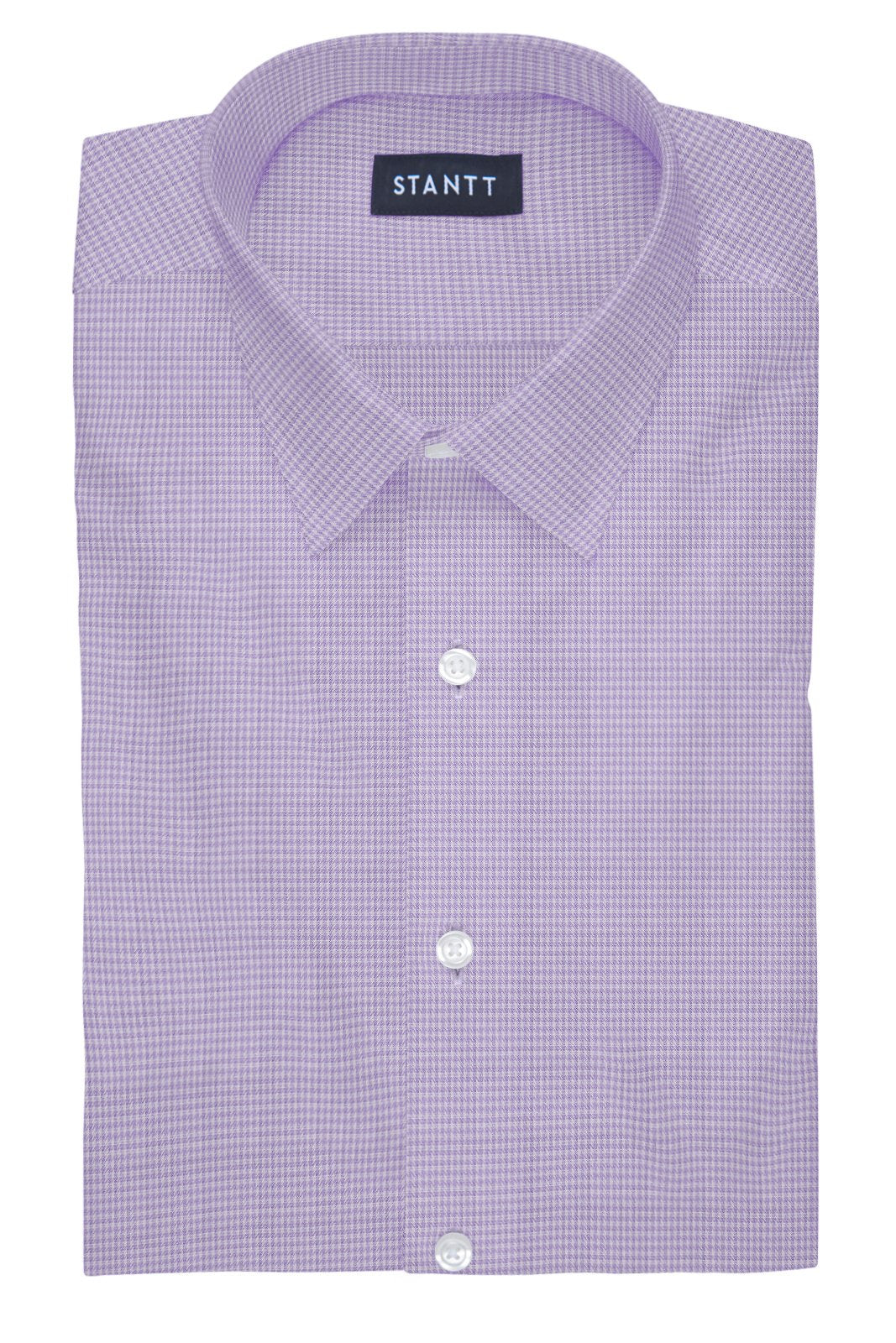 Heather Purple Houndstooth: Semi-Spread Collar, French Cuff