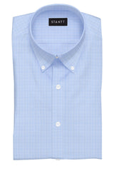 Light Blue Mini Prince of Wales Check: Button-Down Collar, Barrel Cuff