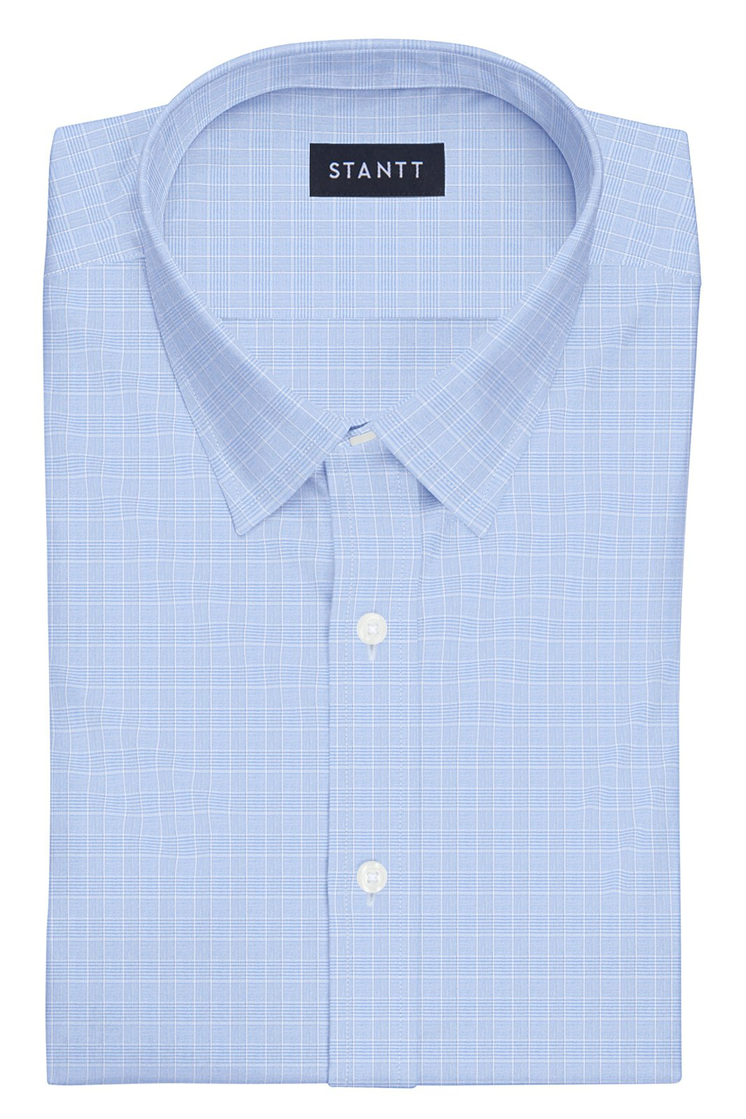 Light Blue Mini Prince of Wales Check: Semi-Spread Collar, French Cuff