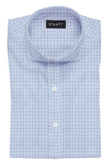 Light Blue Tattersall: Cutaway Collar, French Cuff