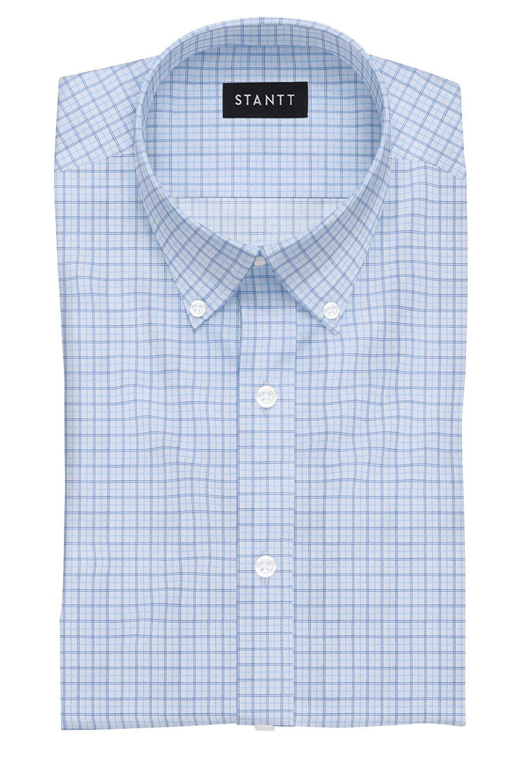 Light Blue Tattersall: Button-Down Collar, Barrel Cuff