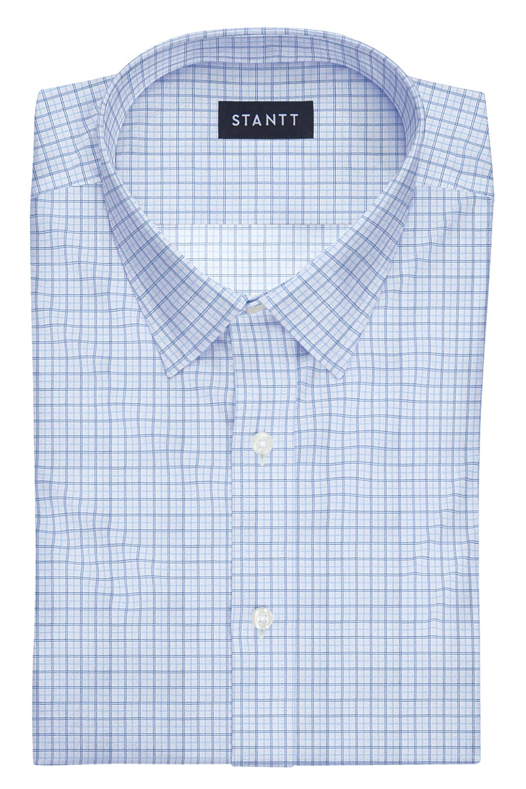 Light Blue Tattersall: Semi-Spread Collar, Barrel Cuff