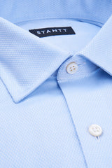 Light Blue Mini Diamond Stitch: Modified Collar, Barrel Cuff