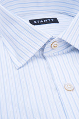 White Herringbone Stripe: Modified-Spread Collar, Barrel Cuff