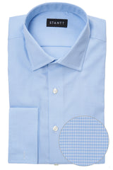 Wrinkle-Resistant Light Blue Houndstooth