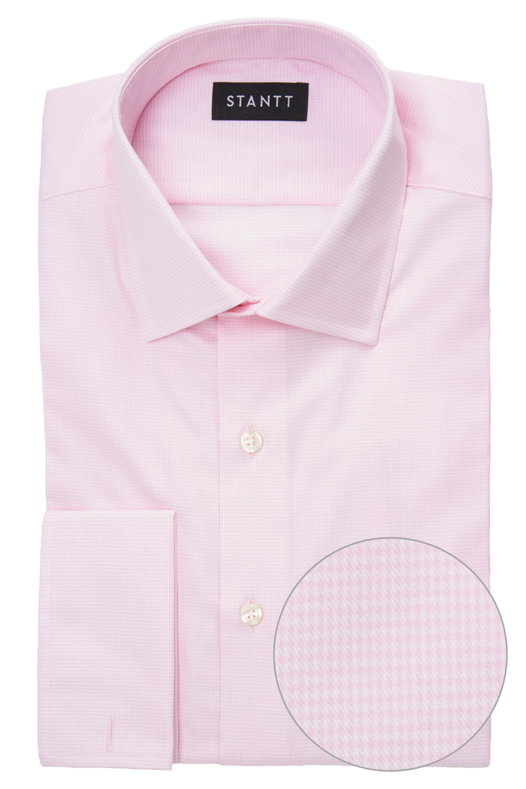 Pink Houndstooth: Modified-Spread Collar, Barrel Cuff