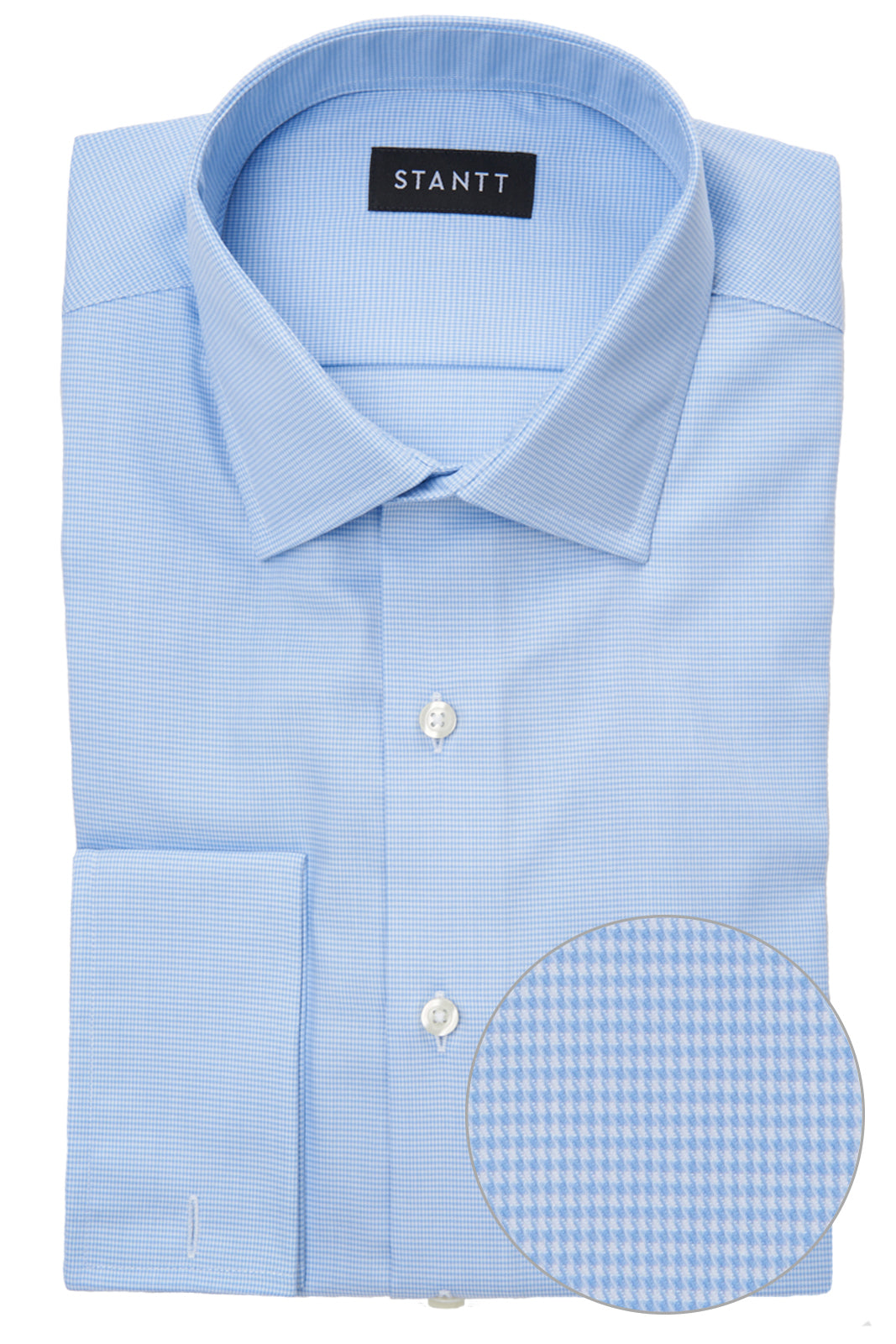 Wrinkle-Resistant Light Blue Houndstooth: Modified-Spread Collar, French Cuff