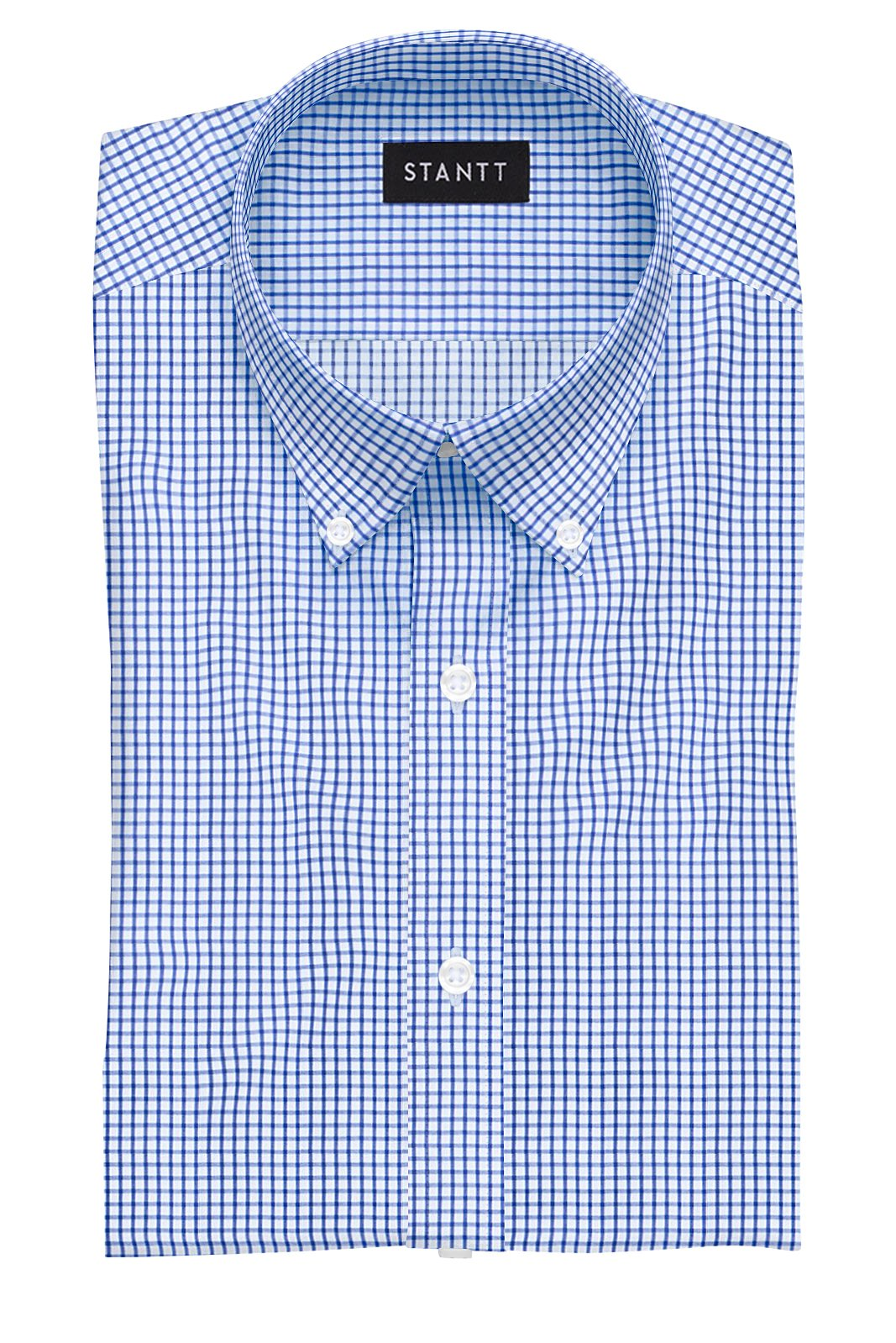 Navy Grid Check: Button-Down Collar, Barrel Cuff