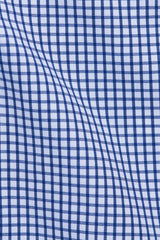 Navy Grid Check: Semi-Spread Collar, Barrel Cuff