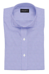 Purple and Blue Mini Tattersall: Cutaway Collar, French Cuff
