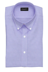 Purple and Blue Mini Tattersall: Button-Down Collar, Barrel Cuff