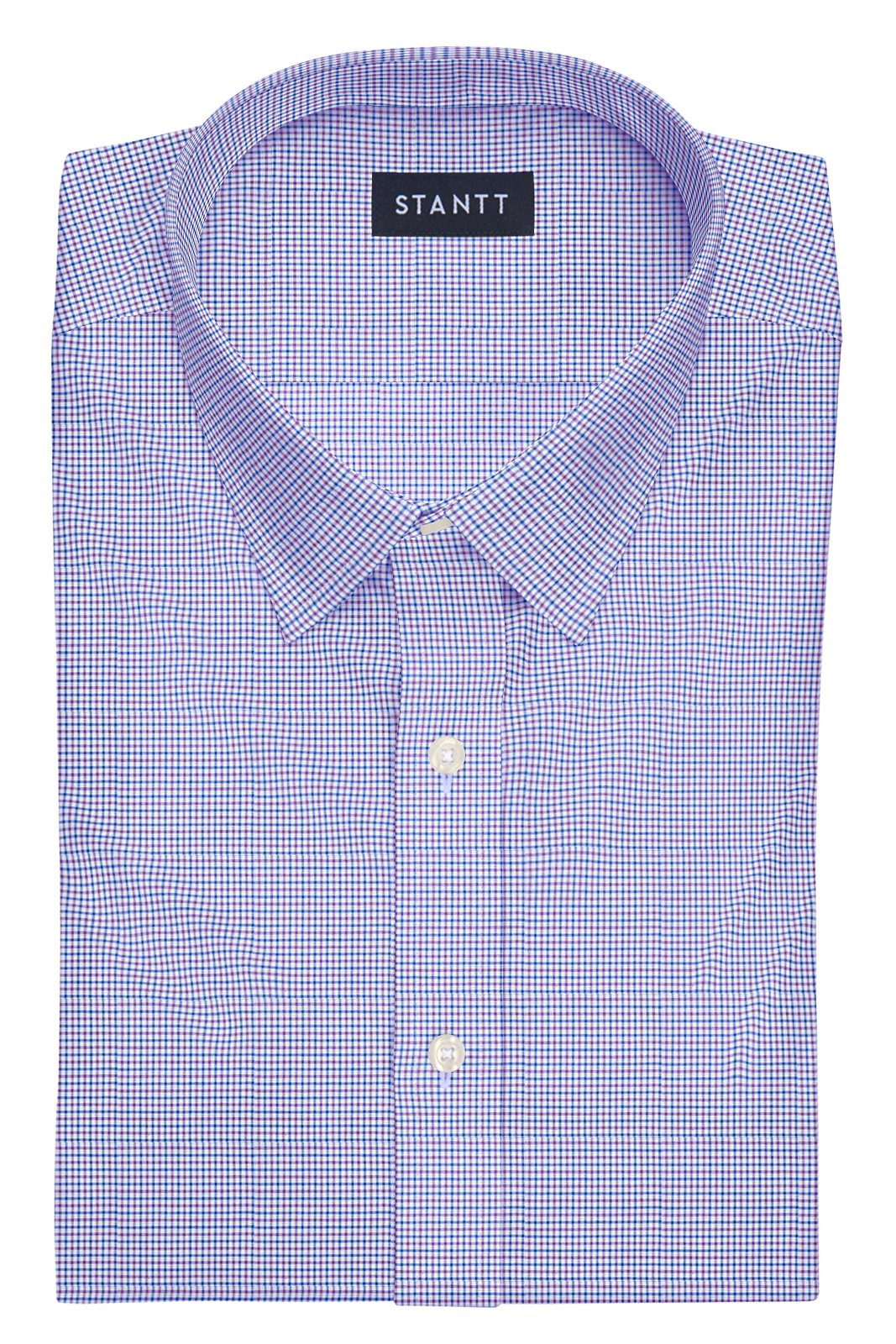 Purple and Blue Mini Tattersall: Semi-Spread Collar, French Cuff