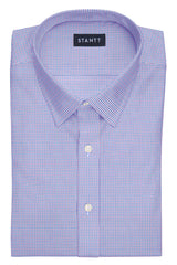 Purple and Blue Mini Tattersall: Semi-Spread Collar, Barrel Cuff