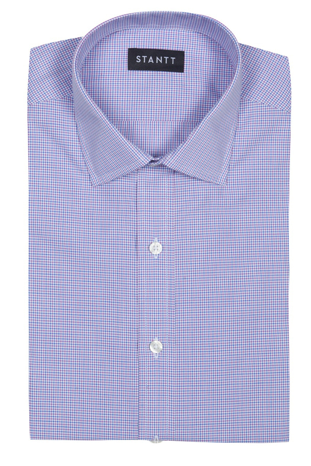 Purple and Blue Mini Tattersall: Modified-Spread Collar, French Cuff