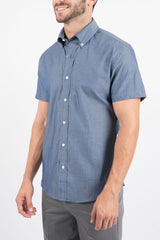 Slate Diamond Dot: Semi-Spread Collar, Short Sleeve