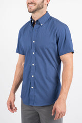 Navy Micro Dot: Button-Down Collar, Short Sleeve