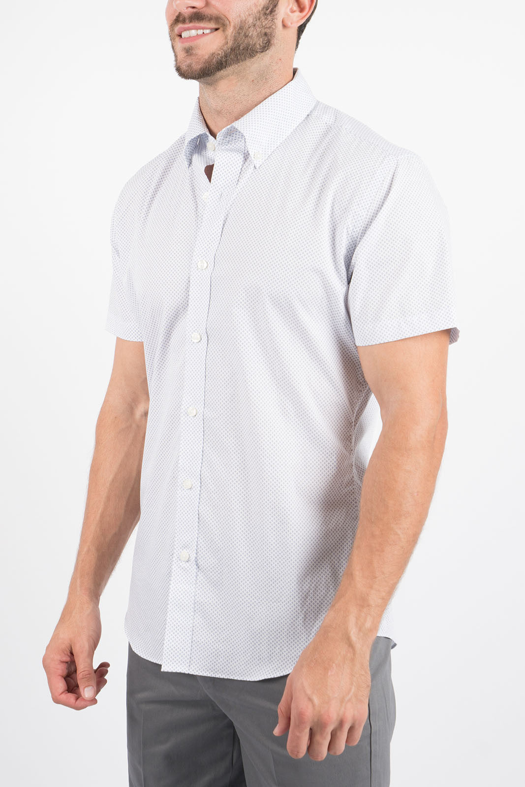 c9446d439 Shirts | White Diamond Dot: Button-Down, Short Sleeve Button-Up | Stantt