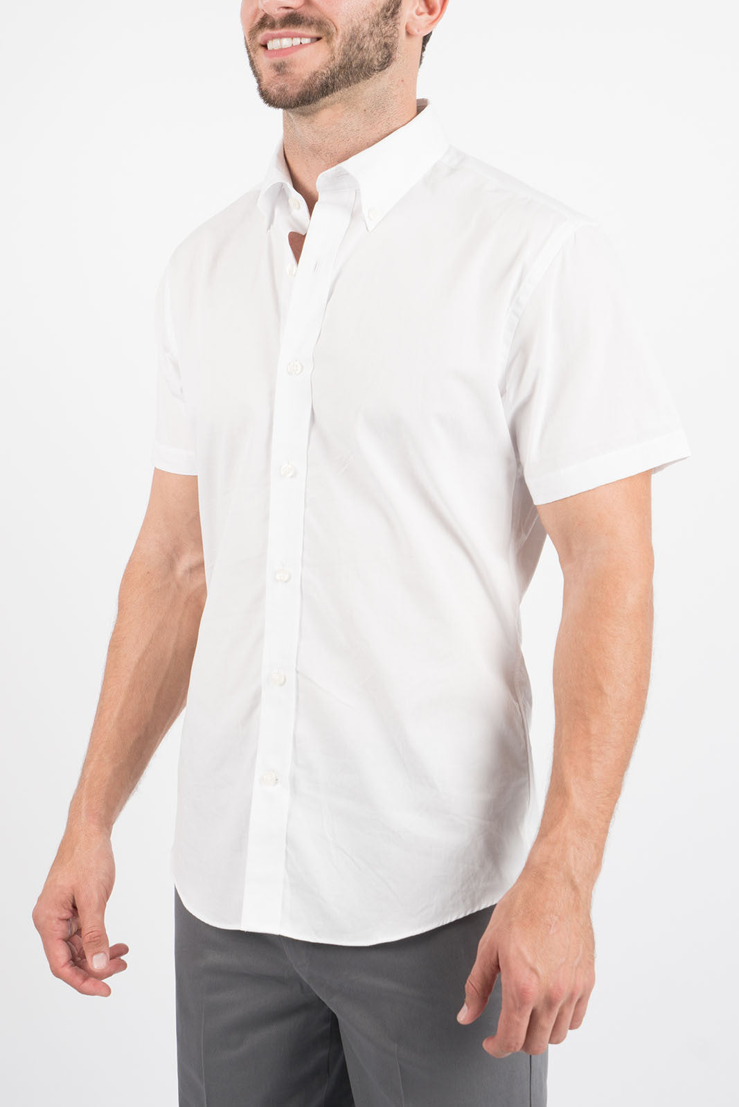 Washed White: Semi-Spread Collar, Short Sleeve