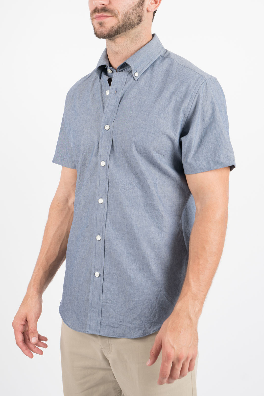 Blue Chambray: Semi-Spread Collar, Short Sleeve