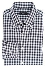 Black Gingham: Button-Down Collar, Long Sleeve