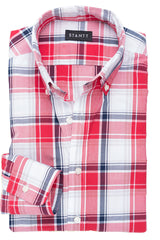 Red Oversized Plaid: Button-Down Collar, Barrel Cuff