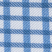 Cobalt Blue Large Grid Check: Semi-Spread Collar, French Cuff