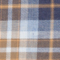 Stone Blue and Sand Plaid: Semi-Spread Collar, French Cuff