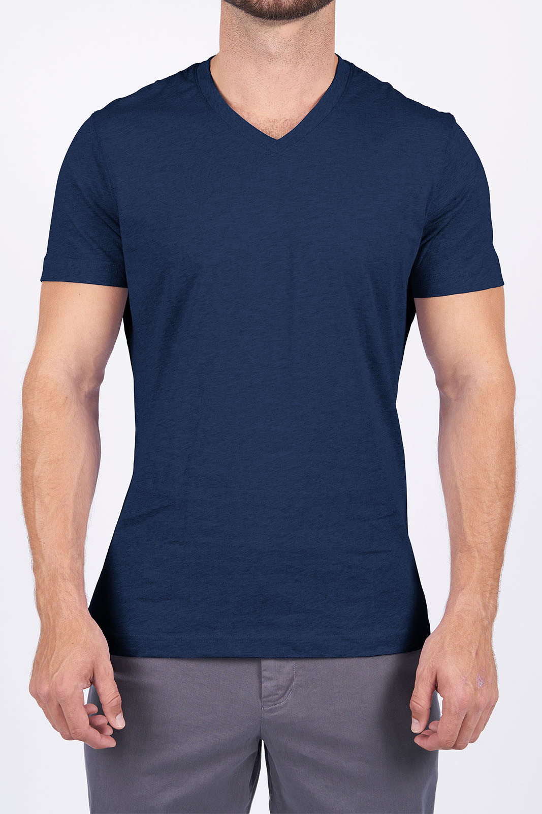 Navy Long-Staple Cotton T-Shirt: V-Neck