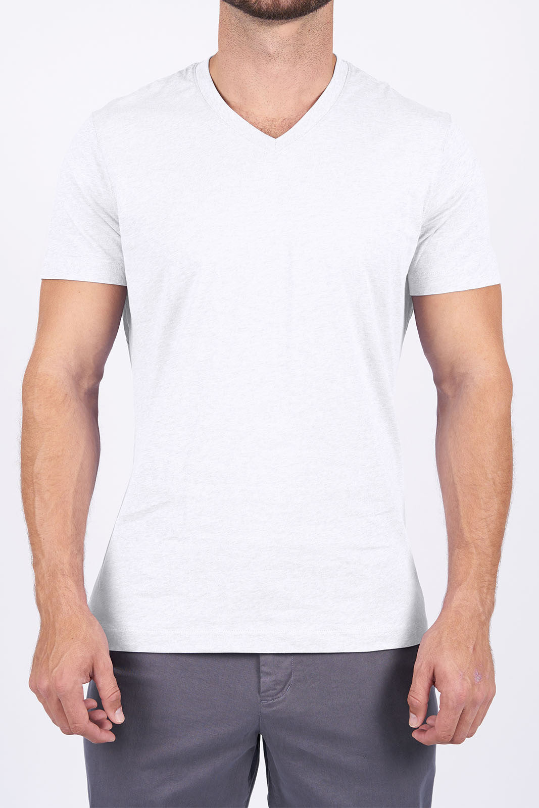 White Long-Staple Cotton T-Shirt: V-Neck
