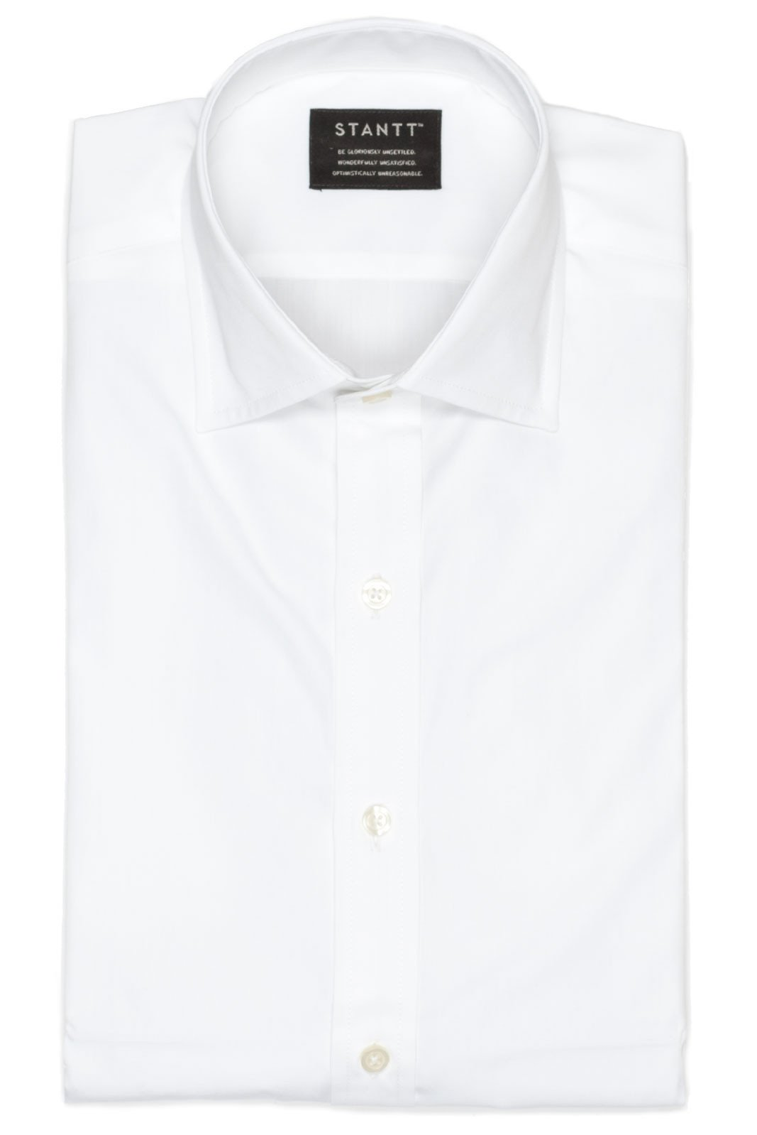 Fine White Poplin: Modified Spread Collar, French Cuff