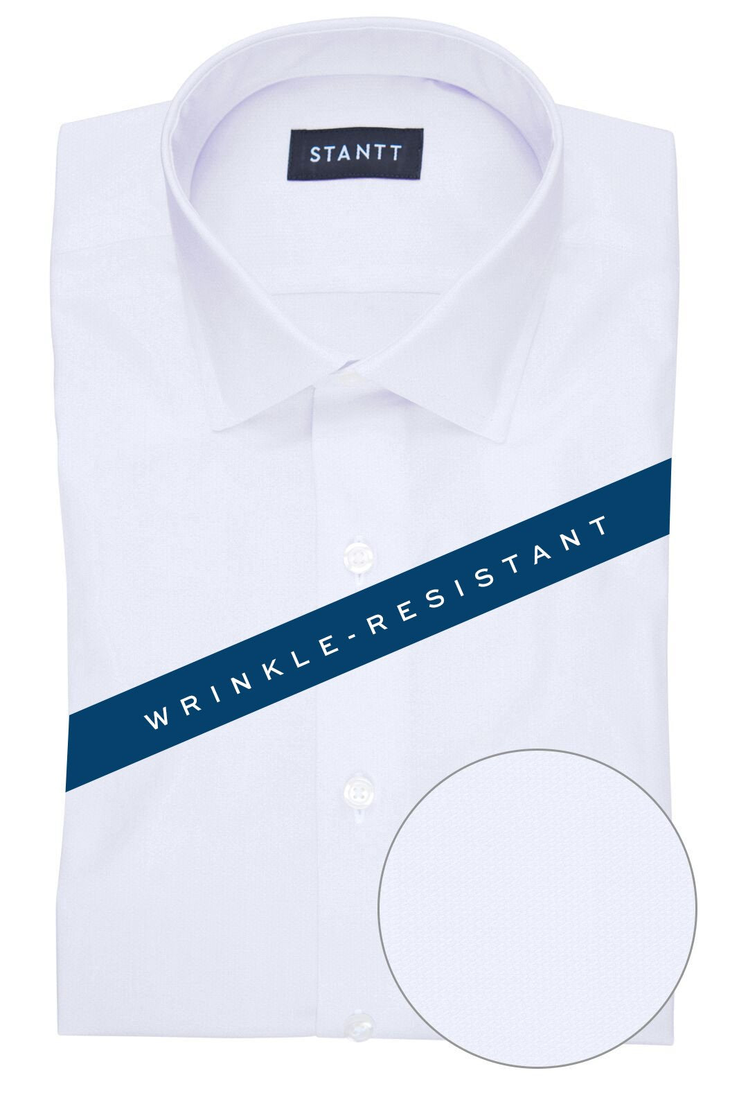 Wrinkle-Resistant White Heart Dobby: Modified-Spread Collar, French Cuff