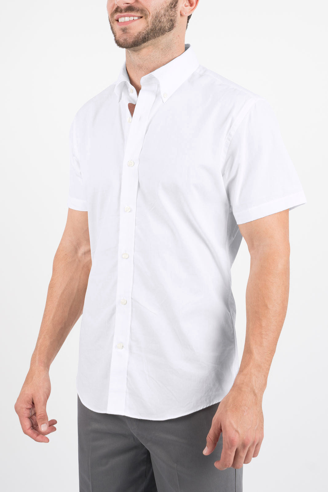 White Oxford: Semi-Spread Collar, Short Sleeve
