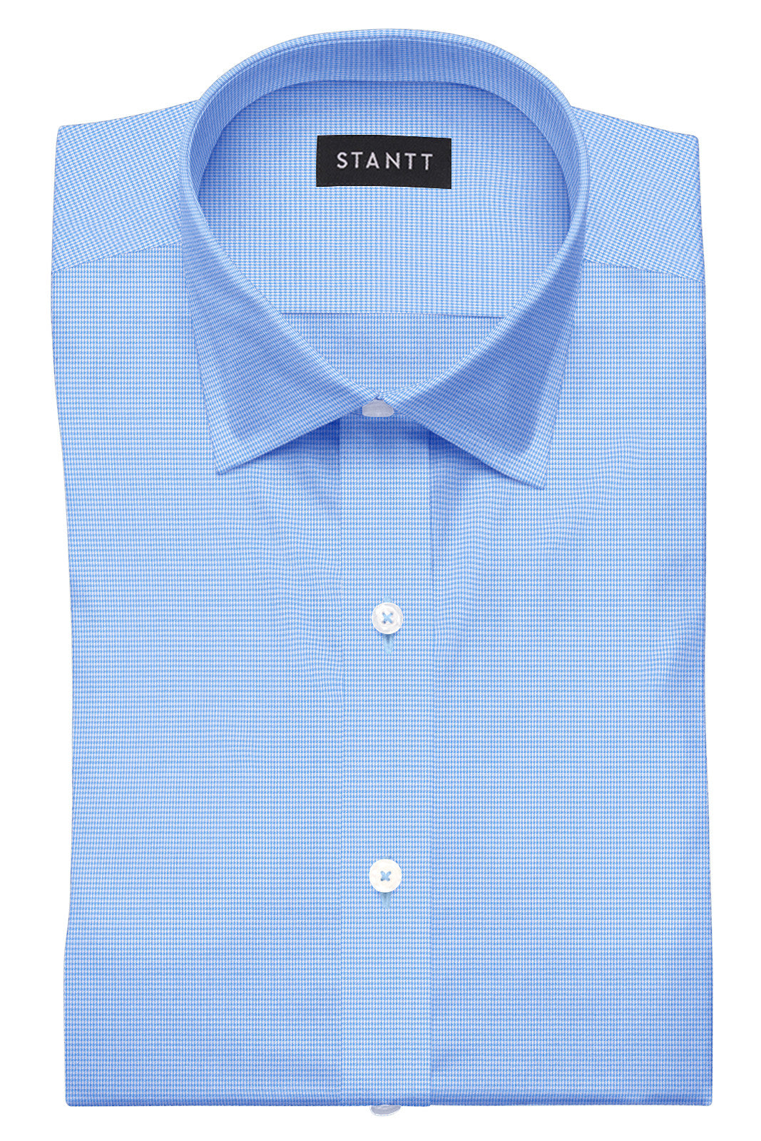 Wrinkle-Resistant French Blue Houndstooth: Semi-Spread Collar, Barrel Cuff