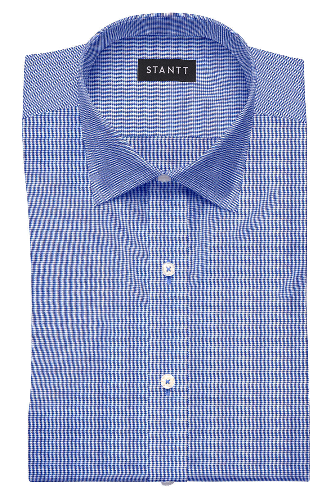 Wrinkle-Resistant Navy Houndstooth: Semi-Spread Collar, French Cuff