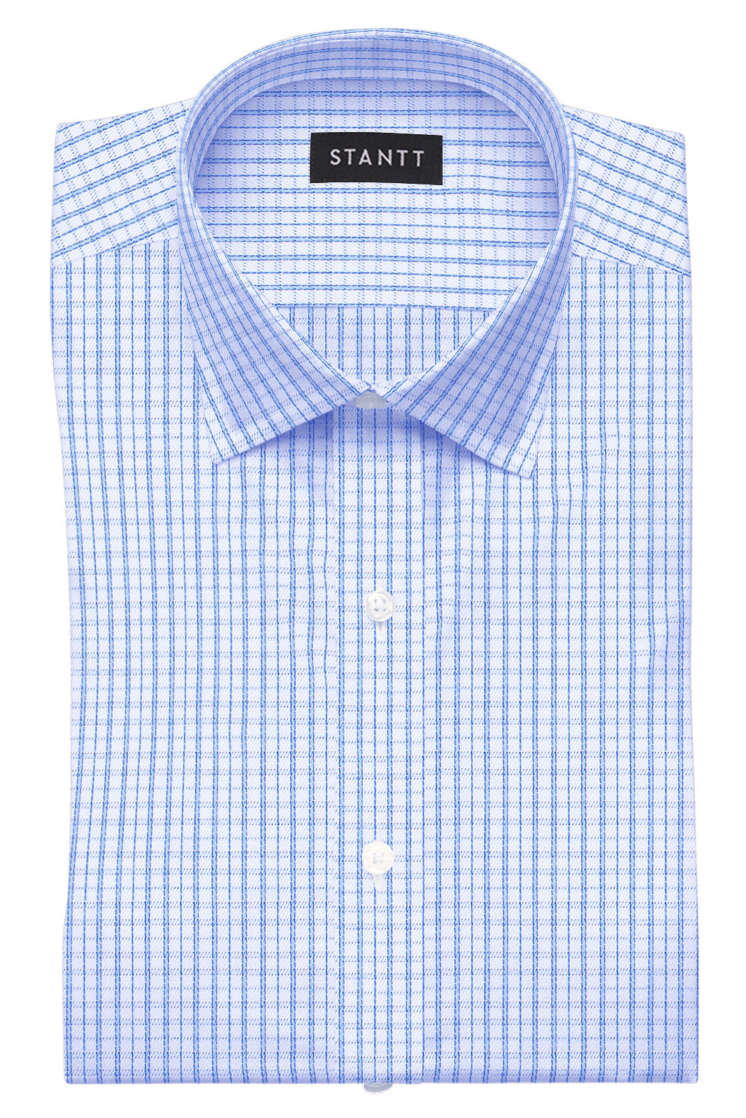 Wrinkle-Resistant Tonal Blue Tattersall: Cutaway Collar, French Cuff