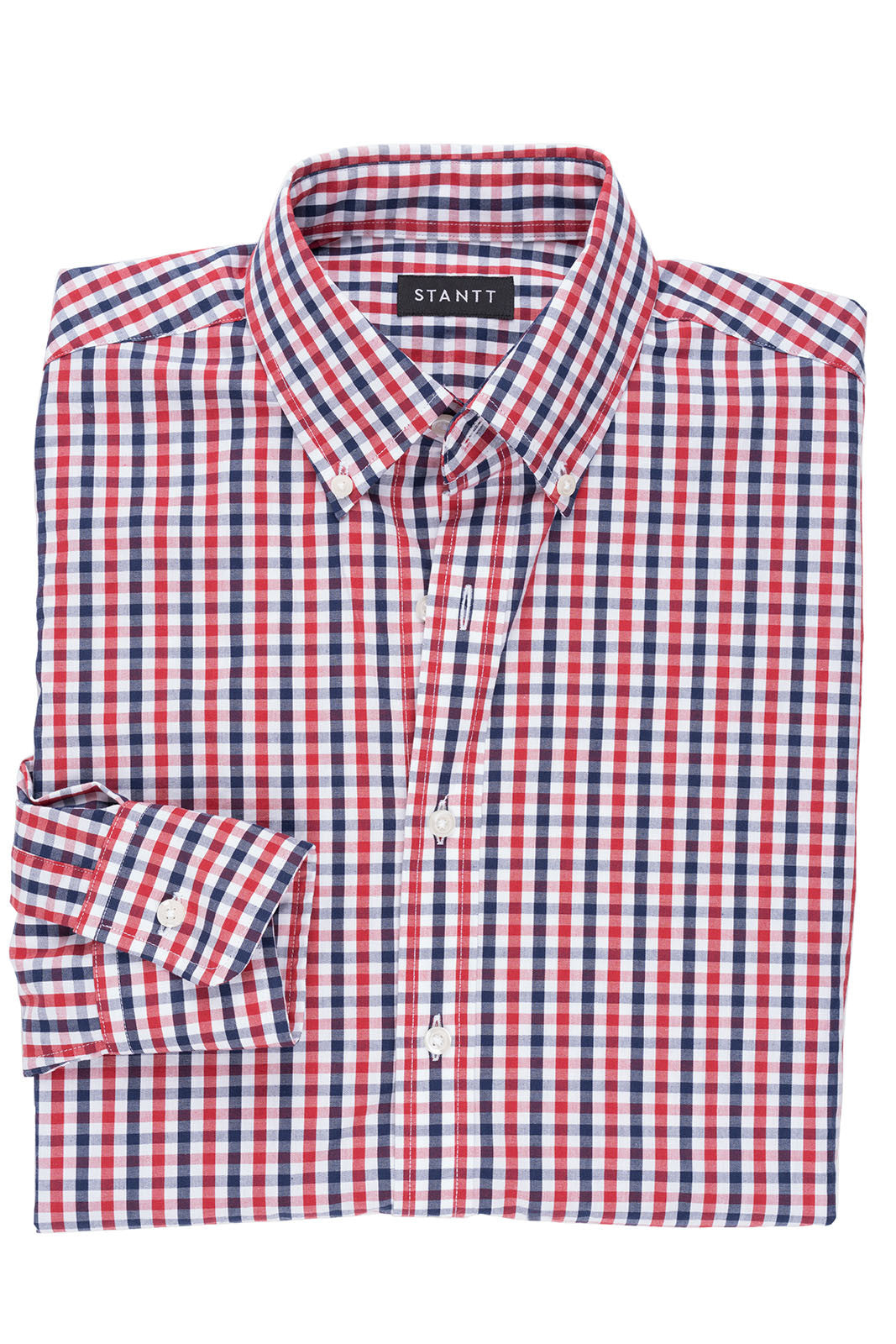 Cardinal Red and Navy Gingham: Semi-Spread Collar, Barrel Cuff