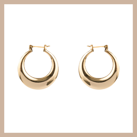 Shooting Star Hoop Earrings - Gold