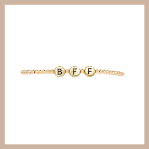 Initial Stretchy - BFF- Gold & Gold Filled Beads 3mm