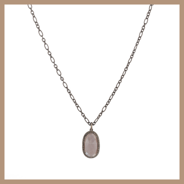 Eclipse Diamond Necklace - Large Chocolate Moonstone