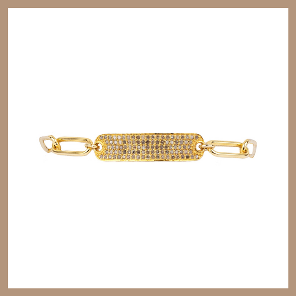 Chain Bracelet- Diamond Rectangle Bar - Gold