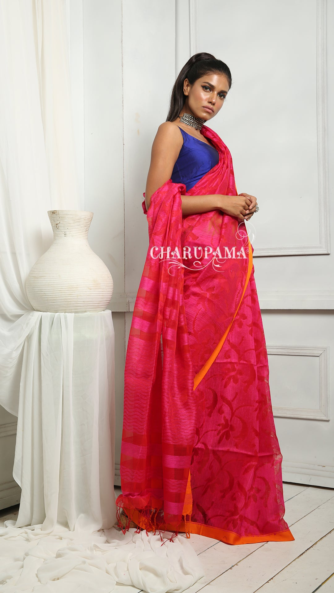 Fuchsia Pink Pure Matka Saree With Orange Floral Weaving