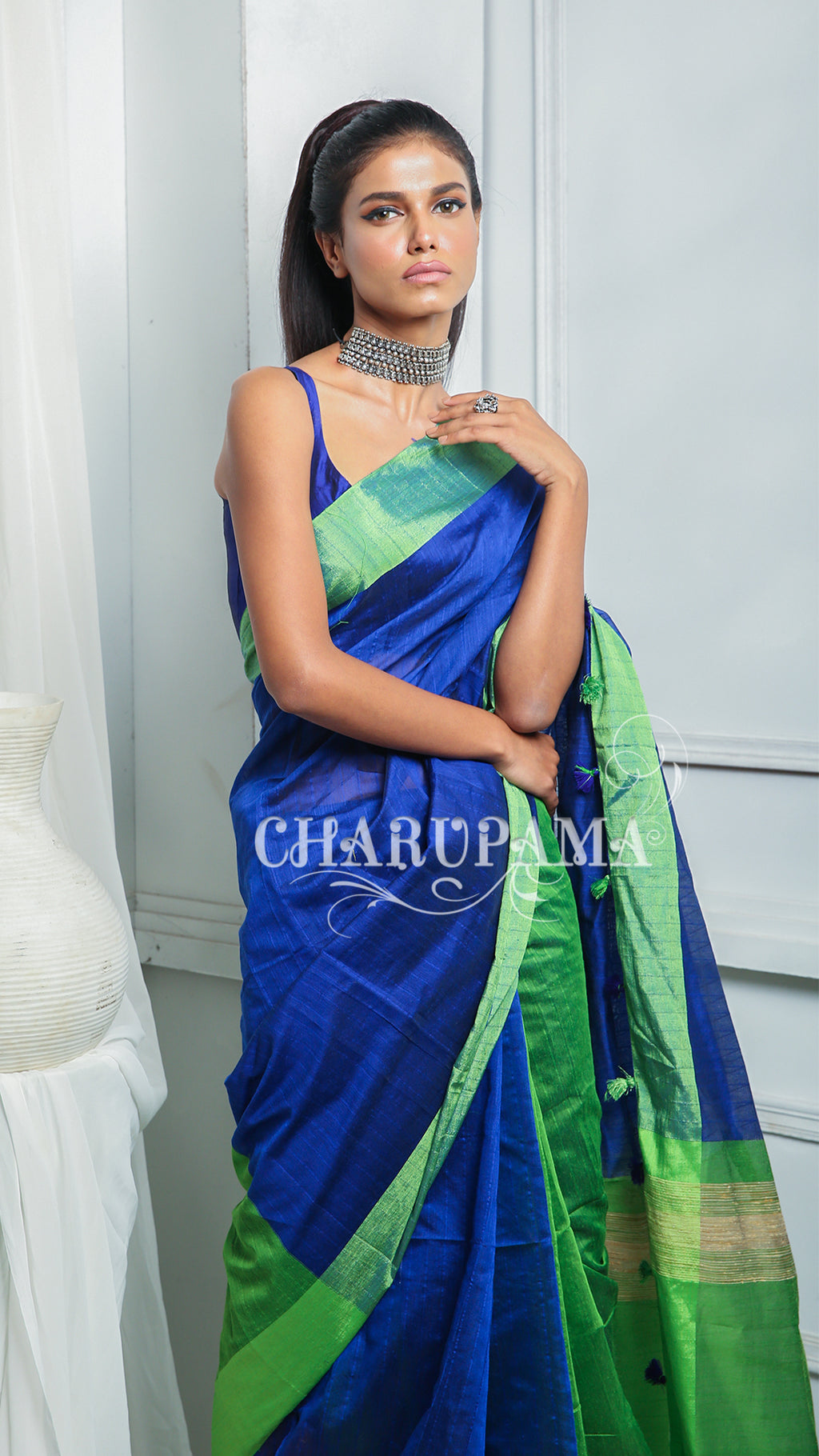 Azure Blue And Green Half Half Blended Cotton With Pallu And Pompom