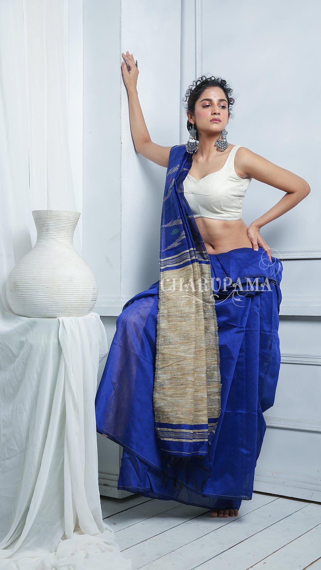 This Blended Cotton Saree Brings You Comfort With Style. Perfect For Office, Home And Party Wear. A Simple Wrap With Designer Blouse Or Top On These Saree Gives You Lucent And Vibrant Look. - Charupama