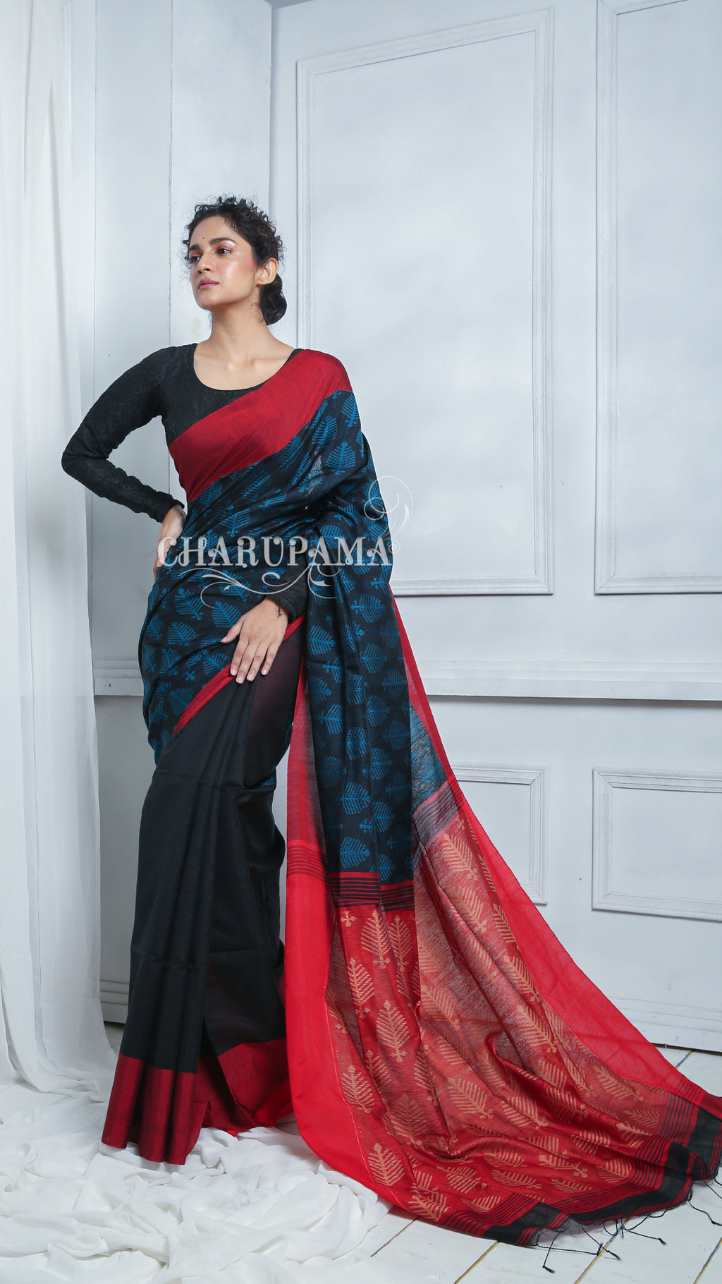 Black And Combination. This Saree Represents Warm Color With A Cool Color. This Handwoven Blended Cotton Saree Is Great Pick For Summer And Autumn Season. - Charupama