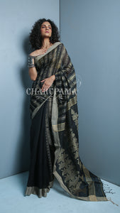 Charupama - Color Beige Is Neutral, Calm, And Relaxing And With Black Combination This Saree Represents Warm Color With A Cool Color. This Handwoven Blended Cotton Saree Is Great Pick For Summer And Autumn Season.
